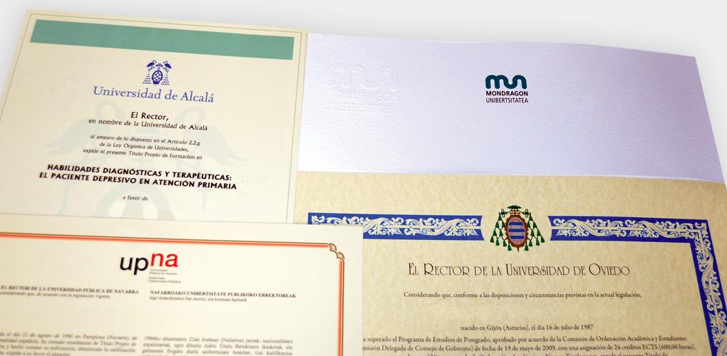 Impresión de Títulos Universitarios Propios